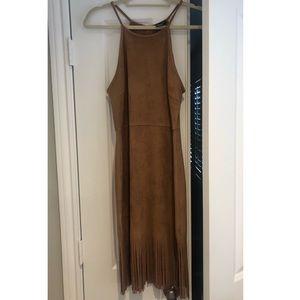 Bloomingdales 'AQUA' brown suede fringe dress